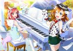 2girls animal_ears artist_request bare_shoulders blue_eyes blush boots bow dalmatian fingerless_gloves flower frills gloves hair_bow hat highres holding instrument kousaka_honoka leaf looking_at_viewer love_live! love_live!_school_idol_festival love_live!_school_idol_project mismatched_legwear multiple_girls music nishikino_maki official_art one_eye_closed one_side_up open_mouth orange_hair outdoors paw_gloves paws piano playing_instrument sheet_music short_hair shorts sitting sleeveless smile star suspenders tail thigh-highs unicorn violet_eyes wings