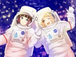 2girls astronaut black_hair blonde_hair blue_eyes blush closed_mouth english_text hair_rings heru_(totoben) holding_hands kurosawa_dia looking_at_another love_live! love_live!_sunshine!! mole mole_under_mouth multiple_girls nasa nasa_logo ohara_mari one_eye_closed open_mouth smile space spacesuit star upper_body yellow_eyes