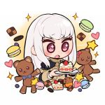 1girl bangs blush cake chibi do_m_kaeru epaulettes fire_emblem fire_emblem:_three_houses food jacket long_hair long_sleeves lysithea_von_ordelia open_mouth pink_eyes simple_background smile solo stuffed_animal stuffed_toy teddy_bear toy uniform upper_body violet_eyes white_background white_hair