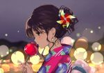 1girl back_bow backlighting bangs black_eyes blurry blurry_background blush bokeh bow candy_apple closed_mouth commentary_request depth_of_field earrings eyebrows_visible_through_hair food from_side gin_(oyoyo) holding holding_sword holding_weapon japanese_clothes jewelry kimono looking_down nail_polish night night_sky original outdoors pink_kimono pink_nails pinwheel_hair_ornament print_kimono profile short_hair short_ponytail sky solo sword weapon yukata