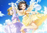 2girls angel_wings bangs bare_shoulders barefoot black_hair blue_eyes blue_sky blunt_bangs brown_hair choker clouds commentary_request dress dutch_angle frilled_dress frilled_skirt frills hair_ornament hair_scrunchie halo highres idolmaster idolmaster_million_live! mikapoe multiple_girls nakatani_iku open_mouth puffy_short_sleeves puffy_sleeves red_eyes scrunchie short_hair short_sleeves side_ponytail skirt sky suou_momoko white_dress wings wrist_cuffs yellow_dress