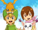 1boy 1girl blonde_hair blue_eyes brown_eyes brown_hair child digimon digimon_adventure hat looking_at_viewer lowres mimxxpk open_mouth patamon short_hair smile tailmon takaishi_takeru yagami_hikari