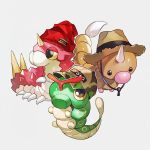 baseball_cap beanie black_eyes brown_headwear bug camouflage_hat caterpie caterpillar clothed_pokemon commentary_request full_body gen_1_pokemon gen_3_pokemon grey_background half-closed_eyes hat horn jpeg_artifacts looking_up newo_(shinra-p) no_humans pokemon pokemon_(creature) red_headwear shiny shiny_skin simple_background straw_hat weedle wurmple yellow_sclera