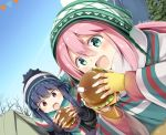 bangs beanie blue_hair cheese eating eyebrows_visible_through_hair fingerless_gloves food gloves green_eyes hair_between_eyes hair_ornament hairclip hamburger hat kagamihara_nadeshiko lettuce long_hair long_sleeves natsume_eri open_mouth outdoors pink_hair scarf shima_rin sky striped striped_scarf sweater tent tomato tree violet_eyes winter_clothes yurucamp