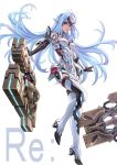 1girl android bare_shoulders blue_hair breasts commentary_request dual_wielding elbow_gloves expressionless forehead_protector gloves goo_goo789 gun highres holding huge_weapon kos-mos_re: large_breasts leotard long_hair looking_at_viewer red_eyes solo standing thigh-highs title very_long_hair weapon white_background white_leotard xenoblade_(series) xenoblade_2 xenosaga