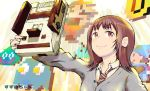 1girl amasuzume brown_eyes brown_hair brown_neckwear coin copyright_request famicom game_console grey_shirt highres inky_(pac-man) long_sleeves looking_at_viewer mario mario_(series) medium_hair necktie original pac-man_(game) school_uniform shirt slime_(dragon_quest) smile solo space_invaders super_mario_bros. upper_body