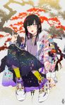 1girl \m/ animal_ears bangs black_hair blunt_bangs choker ear_piercing floral_print fox_ears highres jacket japanese_clothes kazari_tayu long_hair looking_at_viewer original piercing purple_nails red_nails see-through shoes sneakers socks solo tongue tongue_out yellow_eyes yellow_legwear