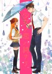 1boy 1girl belt black_bow black_footwear black_legwear black_skirt blue_umbrella bow brown_footwear brown_hair cover cover_page eye_contact gekkan_shoujo_nozaki-kun hair_bow hand_on_hip hands_together hashimoto_(yanagi-momo) hetero holding holding_umbrella long_hair looking_at_another necktie nozaki_umetarou orange_hair pants penny_loafers polka_dot polka_dot_bow profile red_bow red_neckwear sakura_chiyo school_uniform shirt short_sleeves simple_background skirt smile standing thigh-highs umbrella water_drop white_shirt yellow_sweater_vest