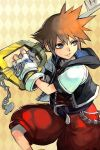 1boy argyle argyle_background belt blue_eyes brown_hair chain disney gloves hankuri hood jacket keyblade kingdom_hearts mickey_mouse_ears open_mouth over_shoulder pants red_pants smile smirk sora_(kingdom_hearts) spiky_hair square_enix unzipped weapon weapon_over_shoulder yellow_background zipper