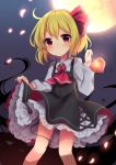 1girl blonde_hair blush bow bowtie commentary_request darkness dress eyebrows_visible_through_hair frilled_dress frills hair_bow long_sleeves looking_at_viewer moon night night_sky petals red_eyes red_neckwear red_ribbon ribbon ruhika rumia short_hair skirt skirt_lift sky smile solo star star_(sky) starry_sky touhou white_skirt