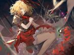 1girl bare_legs black_shirt blonde_hair commentary_request elise_(piclic) feet_out_of_frame flower grey_eyes hair_ribbon head_tilt highres light_particles looking_at_viewer medicine_melancholy neck_ribbon petals petticoat puffy_short_sleeves puffy_sleeves red_flower red_neckwear red_ribbon red_skirt ribbon shirt short_hair short_sleeves skirt solo thighs touhou