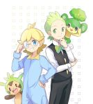 2boys :3 adjusting_eyewear ahoge artist_name black_eyes black_pants black_vest blonde_hair blue_bodysuit blue_eyes blush bodysuit bow bowtie chespin citron_(pokemon) closed_mouth dent_(pokemon) forehead formal gen_5_pokemon gen_6_pokemon glasses green_eyes green_hair green_neckwear grin gym_leader hand_on_hip hand_up light_blush long_sleeves looking_at_another looking_at_viewer looking_to_the_side male_focus mei_(maysroom) multiple_boys outline pansage pants pokemon pokemon_(creature) pokemon_(game) pokemon_bw pokemon_xy shirt signature simple_background smile standing suit teeth vest white_background white_shirt