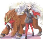 1girl blonde_hair blue_eyes cape cravat edelgard_von_hresvelg entei fire_emblem fire_emblem:_three_houses gen_1_pokemon gloves hair_ornament hair_ribbon legendary_pokemon long_hair looking_at_viewer pantyhose pokemon pokemon_(creature) red_cape ribbon robaco simple_background smile solo uniform white_background