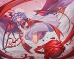 1girl absurdres bat_wings blood blue_hair dress flying hat highres holding holding_staff outdoors red_eyes remilia_scarlet short_hair sky solo ssangbong-llama staff tongue tongue_out touhou white_dress white_footwear wings