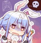 2girls anger_vein animal_ear_fluff animal_ears bandaged_head bandages bangs black_gloves blue_hair braid bunny_girl carrot carrot_hair_ornament closed_eyes extra_ears eyebrows_visible_through_hair food_themed_hair_ornament gloves hair_ornament hololive kuro_(kuroneko_no_kanzume) long_braid multicolored_hair multiple_girls open_mouth pointy_ears rabbit_ears scarf shiranui_flare skull skull_print smile speech_bubble sweatdrop symbol-shaped_pupils twin_braids two-tone_hair usada_pekora virtual_youtuber wavy_mouth white_hair