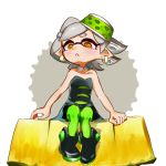 +_+ 1girl ankle_boots arm_support black_dress black_footwear boots brown_eyes commentary detached_collar domino_mask dress earrings food food_on_head fruit full_body gloves green_legwear grey_hair highres hotaru_(splatoon) jewelry looking_at_viewer mask mole mole_under_eye nishikuromori object_on_head open_mouth oversized_object pantyhose pineapple pointy_ears short_dress short_hair sitting sitting_on_food solo splatoon_(series) splatoon_1 strapless strapless_dress sushi tentacle_hair white_gloves