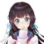 1girl blue_eyes blue_ribbon braid brown_hair glasses hair_ribbon hand_up long_sleeves mu_xue original ribbon school_uniform serafuku simple_background upper_body white_background
