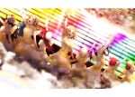 6+girls :d absurdres ahoge arm_up bangs beret black_hair blonde_hair blue_hair bow brown_hair dress dutch_angle flower hair_bow hair_flower hair_ornament hairband hat highres kougi_hiroshi kunikida_hanamaru kurosawa_dia kurosawa_ruby long_hair long_sleeves love_live! love_live!_sunshine!! matsuura_kanan multiple_girls ohara_mari open_mouth orange_hair redhead sakurauchi_riko screen short_hair short_sleeves smile stage takami_chika tsushima_yoshiko watanabe_you white_headwear yellow_bow yellow_wings
