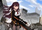 1girl absurdres artist_request blue_sky building bullpup city clouds cloudy_sky commentary_request eyebrows_visible_through_hair girls_frontline gloves gun highres looking_at_viewer purple_hair red_eyes rifle ruins scope sky sniper_rifle solo wa2000_(girls_frontline) walther walther_wa_2000 weapon