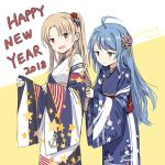 2girls :d ahoge alternate_costume azur_lane cleveland_(azur_lane) cnm floral_print happy_new_year helena_(azur_lane) japanese_clothes kimono long_hair multiple_girls new_year open_mouth print_kimono smile