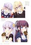3girls absurdres adjusting_eyewear bespectacled blonde_hair blue_eyes blush brown_hair collarbone doughnut eyebrows_visible_through_hair food glasses highres holding holding_food long_hair looking_at_viewer multiple_girls new_game! official_art open_mouth overalls purple_hair scan short_sleeves suzukaze_aoba sweater takimoto_hifumi tokunou_shoutarou twintails violet_eyes yagami_kou