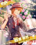 character_name green_eyes hat idolmaster idolmaster_side-m jacket orange_hair short_hair wakazato_haruna