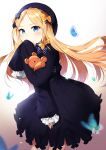 1girl abigail_williams_(fate/grand_order) absurdres bangs black_bow black_dress black_headwear blonde_hair blue_eyes blush bow brown_background bug butterfly commentary_request covered_mouth dress eyebrows_visible_through_hair fate/grand_order fate_(series) fingernails forehead gradient gradient_background hair_bow hat highres insect kshliho long_hair long_sleeves looking_at_viewer object_hug orange_bow parted_bangs polka_dot polka_dot_bow sleeves_past_fingers sleeves_past_wrists solo stuffed_animal stuffed_toy teddy_bear very_long_hair white_background