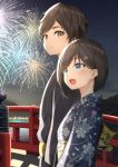1boy 1girl :d aerial_fireworks bangs black_hair black_kimono blue_eyes blue_kimono blush brown_eyes brown_hair commentary_request eyebrows_visible_through_hair fireworks floral_print flower hair_flower hair_ornament hairclip highres japanese_clothes kimono lake looking_at_another looking_away mottsun_(i_40y) night night_sky obi open_mouth original outdoors pink_flower print_kimono railing sash sky smile star_(sky) starry_sky striped upper_body vertical-striped_kimono vertical_stripes