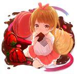 1girl barefoot blush brown_eyes brown_hair chocolate chocolate_bar food fruit hair_ribbon long_hair looking_at_viewer macaron original ribbon ronba1125 skirt solo strawberry valentine