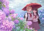 2girls :d backpack bag bangs blue_eyes blurry blurry_foreground blush braid brown_hair brown_skirt commentary_request day depth_of_field eyebrows_visible_through_hair flower fukahire_(ruinon) hair_between_eyes hair_flower hair_ornament holding holding_umbrella hydrangea long_hair multiple_girls neckerchief open_mouth original outdoors parted_lips pleated_skirt purple_flower rain red_eyes red_neckwear red_umbrella sailor_collar school_bag school_uniform serafuku shared_umbrella shirt short_sleeves skirt smile umbrella very_long_hair white_flower white_sailor_collar white_shirt