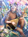 1girl androgynous artist_name biwa_lute blue_skirt bottle brown_eyes brown_legwear brown_sweater chair cherry_blossoms company_name cup day drink eyes_visible_through_hair flower flower_necklace hanami instrument interitio jewelry knee_up long_hair looking_at_viewer lute_(instrument) music necklace official_art outdoors pantyhose pipa_(instrument) playing_instrument silver_hair sitting skirt smile spring_(season) string_of_flags sweater teacup tenka_touitsu_chronicle tent very_long_hair watermark