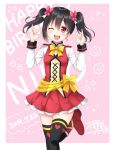 1girl ;d \m/ black_hair black_legwear blush boots bow bowtie butterfly_hair_ornament character_name commentary_request cross-laced_clothes dated double_\m/ earrings hair_ornament happy_birthday heart heart_print highres jewelry long_sleeves looking_at_viewer love_live! love_live!_school_idol_project one_eye_closed open_mouth pink_background red_eyes red_footwear red_skirt sakurai_makoto_(custom_size) signature skirt smile smiley_face solo sparkle standing standing_on_one_leg sunny_day_song thigh-highs twintails yazawa_nico yellow_neckwear
