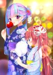 2girls :d ahoge animal_print bang_dream! bangs blue_eyes blue_hair blue_kimono blurry blush bokeh butterfly_print candy_apple chu2_(bang_dream!) commentary_request cotton_candy depth_of_field eating floral_print food fox_mask from_side hair_bun hair_ornament highres holding holding_food japanese_clothes kanzashi kimono koh_(user_kpcu7748) long_hair looking_at_viewer mask multicolored_hair multiple_girls obi open_mouth pareo_(bang_dream!) pink_hair red_eyes redhead sash sidelocks smile summer_festival two-tone_hair wide_sleeves