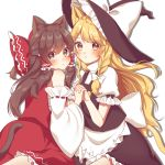 2girls :< absurdres animal_ears apron bangs bare_shoulders black_headwear black_skirt black_vest blonde_hair blush bow braid brown_eyes brown_hair cat_ears cat_tail commentary_request detached_sleeves drop_shadow eyebrows_visible_through_hair feet_out_of_frame frilled_apron frilled_bow frills from_behind hair_between_eyes hair_bow hair_tubes hakurei_reimu half_updo hat hat_bow highres holding_hands interlocked_fingers kemonomimi_mode kirisame_marisa kneeling long_hair long_sleeves looking_at_viewer looking_back multiple_girls parted_lips petticoat puffy_short_sleeves puffy_sleeves red_bow red_skirt sarashi shiki_(s1k1xxx) shirt short_sleeves sidelocks simple_background single_braid skirt skirt_set tail touhou very_long_hair vest waist_apron white_apron white_background white_bow white_shirt wide_sleeves witch_hat yellow_eyes
