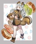 1girl animal_ears bangs basket black_skirt bread brown_coat brown_eyes brown_footwear coat food fruit full_body fur_trim highres holding holding_basket lettuce long_hair long_sleeves looking_at_viewer original parted_bangs peach shoes silver_hair simple_background skirt squirrel_ears squirrel_tail tail tomato wowo0owow yellow_neckwear