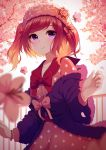 1girl bangs blurry_foreground blush bow cherry_blossoms collarbone commentary_request dress flower fur_trim hair_bow hair_ornament hat jacket long_sleeves looking_at_viewer original outdoors pink_dress purple_jacket red_bow redhead rizky_(strated) short_twintails smile solo tree twintails violet_eyes