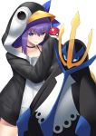 1girl absurdres bangs bird black_choker black_jacket blue_eyes choker collarbone commentary_request crossover empoleon eyebrows_visible_through_hair fate/grand_order fate_(series) gen_4_pokemon glint grin hair_between_eyes highres holding holding_poke_ball hood hood_up hooded_jacket i.f.s.f jacket long_hair long_sleeves looking_at_viewer meltryllis meltryllis_(swimsuit_lancer)_(fate) penguin penguin_hood poke_ball poke_ball_(generic) pokemon pokemon_(creature) pokemon_(game) pokemon_dppt purple_hair simple_background sleeves_past_fingers sleeves_past_wrists smile v-shaped_eyebrows white_background
