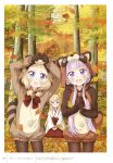3girls absurdres animal_ears bell black_legwear blonde_hair blue_eyes blush closed_mouth day fake_animal_ears forest fox_ears hair_bobbles hair_ornament highres holding holding_leaf japanese_clothes kneeling leaf long_hair long_sleeves low_twintails miko multiple_girls nature new_game! official_art open_mouth outdoors pantyhose purple_hair sakura_nene scan short_hair short_twintails smile suzukaze_aoba sweatdrop tokunou_shoutarou tree twintails violet_eyes whisker_markings yagami_kou