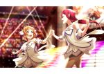 2girls :d ^_^ absurdres back_bow blurry blurry_background bow bracelet brightest_melody clenched_hand closed_eyes detached_sleeves dress hair_bow highres holding_hands jewelry kougi_hiroshi long_hair looking_at_another love_live! love_live!_sunshine!! love_live!_sunshine!!_the_school_idol_movie_over_the_rainbow low-tied_long_hair multiple_girls open_mouth orange_hair purple_bow red_eyes redhead sakurauchi_riko screen short_sleeves smile sparkle stage takami_chika thigh-highs tiara white_bow white_dress