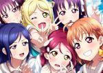 6+girls :d :t ;d absurdres bangs blonde_hair blue_hair blush bow braid crown_braid double_w grin group_picture hair_bow hair_ornament hair_ribbon hair_rings hairclip highres kazuno_leah kazuno_sarah kougi_hiroshi long_hair looking_at_viewer love_live! love_live!_sunshine!! matsuura_kanan multiple_girls ohara_mari one_eye_closed open_mouth orange_hair ponytail purple_hair redhead ribbon sakurauchi_riko school_uniform serafuku short_hair sidelocks smile sweatdrop takami_chika uranohoshi_school_uniform v v-shaped_eyebrows violet_eyes w white_ribbon yellow_bow