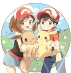 1boy 1girl :3 arms_up artist_name ayumi_(pokemon) bangs baseball_cap black_eyes black_hair black_shirt blue_pants blue_sky blush blush_stickers brown_eyes brown_hair bush closed_mouth clouds copyright_name day eevee english_text flat_chest flower gen_1_pokemon green_shorts grin happy hat highres holding holding_pokemon kakeru_(pokemon) legs_apart light_blush looking_at_viewer mei_(maysroom) open_mouth outdoors pants pawpads paws pikachu poke_ball_theme pokemon pokemon_(creature) pokemon_(game) pokemon_lgpe ponytail red_headwear red_shirt shirt short_hair short_shorts short_sleeves shorts side_slit signature sky smile teeth tied_hair white_flower wristband