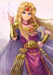 1girl absurdres armband bead_necklace beads blonde_hair blue_eyes blush breasts closed_mouth collarbone commentary_request earrings elf fantasy forehead gold_earrings gold_trim hand_on_hip highres hylian index_finger_raised jewelry kuroi_susumu light_smile long_hair looking_at_viewer magic necklace nintendo nintendo_ead pointy_ears princess_zelda shiny shiny_hair short_sleeves sidelocks small_breasts solo standing super_smash_bros. the_legend_of_zelda the_legend_of_zelda:_a_link_between_worlds