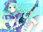 1girl alternate_hairstyle bang_dream! beret blue_background blue_bow blue_skirt bow braid capelet center_frills constellation_print corset earrings electric_guitar esp_guitars frilled_skirt frills green_eyes guitar hair_bow hand_on_own_chest hat hat_bow hikawa_sayo hinakano_h holding holding_instrument instrument jewelry lace long_hair long_sleeves parted_lips print_hat print_skirt ribbon shirt shoulder_cutout single_braid skirt solo star striped striped_ribbon white_shirt