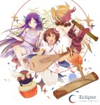 >_< 3girls ;d artist_name barefoot biwa_lute bow_(instrument) brown_hair bun_cover chinese_clothes crescent crescent_hair_ornament double_bun drum drumsticks dungeon_and_fighter erhu eyebrows ghost green_eyes hair_ornament hanfu highres instrument instrument_request jewelry jumping koto_(instrument) long_hair lute_(instrument) mouth_hold multiple_girls mythrain necklace one_eye_closed oni oni_horns open_mouth pipa_(instrument) pointy_ears ponytail purple_hair red_eyes red_skin ribbon-trimmed_sleeves ribbon_trim shakuhachi simple_background smile star star-shaped_pupils symbol-shaped_pupils tattoo very_long_hair white_background white_sleeves