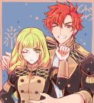 1boy 1girl blonde_hair fire_emblem fire_emblem:_three_houses frown green grin highres ingrid_brandol_galatea long_hair one_eye_closed red_eyes redhead short_hair smile sylvain_jose_gautier uniform