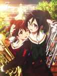 2girls :d ;d black_hair blue_eyes brown_eyes brown_hair cover dvd_cover euphonium glasses green_neckwear hair_between_eyes hair_up head_hug hibike!_euphonium highres hug ikeda_shouko instrument kyoto_animation long_hair looking_at_another multiple_girls neckerchief official_art one_eye_closed open_mouth oumae_kumiko outdoors over-rim_eyewear ponytail red-framed_eyewear red_neckwear sailor_collar school_uniform semi-rimless_eyewear serafuku short_hair skirt smile takarajimasha tanaka_asuka tree upper_body