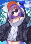 1girl animal_hood bangs black_jacket blue_bow blue_choker blue_eyes blue_sky bow choker closed_mouth clouds cloudy_sky collarbone commentary_request day eyebrows_visible_through_hair fate/grand_order fate_(series) glint hair_between_eyes highres hood hood_up hooded_jacket jacket long_hair long_sleeves looking_at_viewer meltryllis meltryllis_(swimsuit_lancer)_(fate) outdoors penguin_hood purple_hair sky sleeves_past_fingers sleeves_past_wrists solo sunglasses tapioka_(oekakitapioka)
