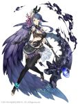 1girl absurdly_long_hair anklet aqua_eyes barefoot bracelet breasts earrings fins full_body full_body_tattoo hair_ornament holding holding_staff jewelry ji_no large_breasts long_hair looking_at_viewer navel ningyo_hime_(sinoalice) official_art pearl_(gemstone) pearl_bracelet ponytail purple_hair revealing_clothes sailor_collar sinoalice smoke solo square_enix staff tattoo very_long_hair white_background