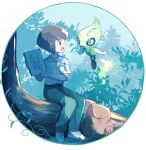 1boy antennae artist_name backpack bag belt blue_eyes brown_hair celebi eye_contact fairy_wings floating full_body gen_2_pokemon green_eyes green_pants hand_up hands_up happy holding jpeg_artifacts legendary_pokemon looking_at_another male_focus mei_(maysroom) notebook ookido_yukinari open_mouth outdoors pants pointing pokemon pokemon_(anime) pokemon_(creature) pokemon_m04 shirt shoes short_sleeves sideways_mouth signature sitting smile tree white_footwear white_shirt wings