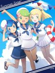 3girls alternate_costume anchor_symbol arm_around_back arm_up artist_name bangs beret blonde_hair blue_bow blue_eyes blue_footwear blue_hair blue_neckwear blue_sailor_collar blue_shorts blue_sky blush bow breasts chestnut_mouth closed_mouth clouds collarbone dark_skin day dutch_angle english_text eyebrows_visible_through_hair flat_chest green_eyes green_hair hair_bow hair_ornament hair_tie hand_up happy hat highres leg_up lifebuoy light_blush lillie_(pokemon) long_hair looking_at_viewer mao_(pokemon) mei_(maysroom) midriff midriff_peek miniskirt multiple_girls neckerchief one-piece_swimsuit one_eye_closed open_mouth outdoors pearl_(gemstone) pleated_skirt poke_ball_symbol poke_ball_theme pokemon pokemon_(game) pokemon_sm ponytail sailor_collar sailor_shirt salute sandals school_uniform seashell serafuku shell shiny shiny_hair shirt shoes short_hair short_sleeves shorts signature skirt sky small_breasts smile standing standing_on_one_leg starfish striped_footwear suiren_(pokemon) swept_bangs swimsuit swimsuit_under_clothes teeth tied_hair tilted_headwear tongue tongue_out trial_captain twintails white_headwear white_shirt white_skirt
